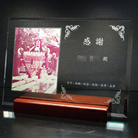 感謝の贈り物のフルカラー写真入りガラス楯(盾)