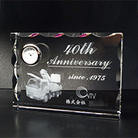 40周年記念祝いの2Dクリスタル楯