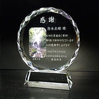 感謝の贈り物のフルカラー写真入りクリスタル楯(ラウンド型)
