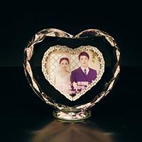 結婚記念日のフルカラー写真入りクリスタル楯