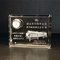 周年記念祝いの2Dクリスタル楯(盾)