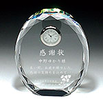 感謝状のクリスタル楯(盾)時計付