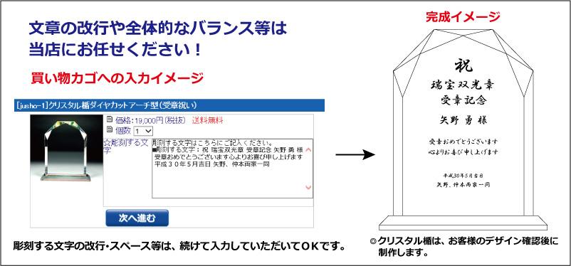 受章祝いのクリスタル楯(ダイヤカットアーチ型)