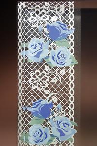 フルカラー絵柄入りガラス楯(盾)バラ・青