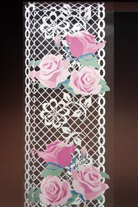フルカラー絵柄入りガラス楯(盾)バラ・ピンク