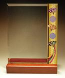フルカラー絵柄入りガラス楯(盾)和柄(扇と雪輪柄)