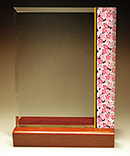 フルカラー絵柄入りガラス楯(盾)和柄(桜柄)
