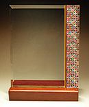 フルカラー絵柄入りガラス楯(盾)和柄(七宝柄)