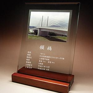 完成記念の写真入りガラス楯