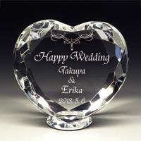 結婚祝いのクリスタル楯(盾)