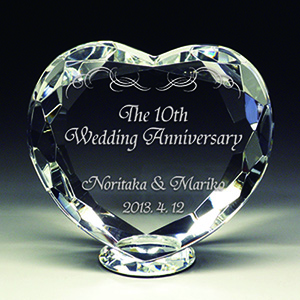 結婚記念日プレゼントのクリスタル楯(盾)ダイヤハート
