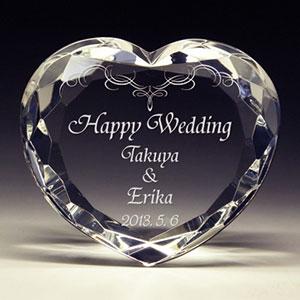 結婚祝いプレゼントのクリスタル楯(盾)ダイヤハート
