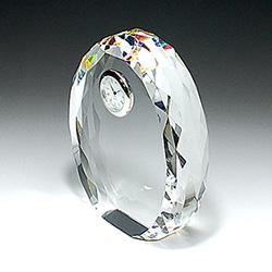 クリスタル楯(盾)楕円形・大、時計付き