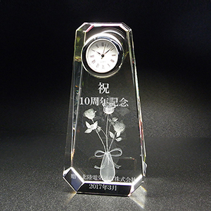 周年記念品のクリスタル楯(盾)バラ 時計付