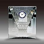 退職記念品のクリスタル楯(盾)時計付き