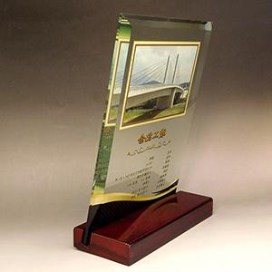 フルカラー写真入りガラス楯(盾)の竣工記念品