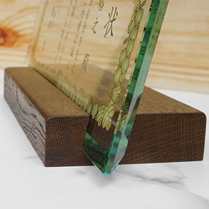 フルカラー絵柄入りガラス楯(盾)の木製台座付き