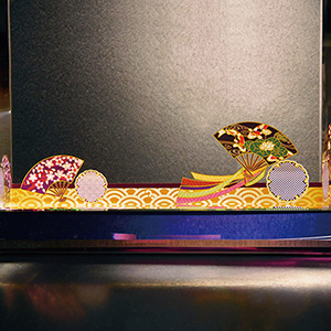 フルカラー絵柄入りクリスタル楯(ダイヤカットアーチ型)扇と雪輪柄
