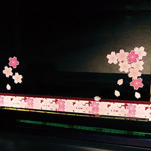 褒章受章お祝い品のフルカラー絵柄入りクリスタル楯(ダイヤカットアーチ型)桜柄