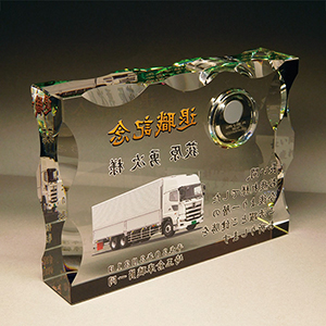 フルカラー写真入りクリスタル楯(盾)時計付きの退職記念品
