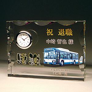 フルカラー写真入りクリスタル楯(盾)写真入り時計付きの退職記念品
