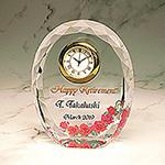 フルカラー絵柄入りクリスタル楯(盾)時計付き(バラ柄)