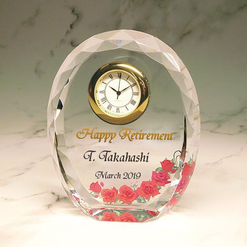 フルカラー絵柄入りクリスタル楯(盾)時計付きの退職祝いプレゼント(バラ柄)