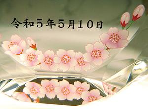 フルカラー絵柄入りクリスタル楯(盾)時計付き(桜柄)