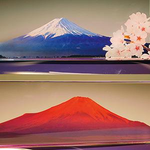 フルカラー絵柄入りクリスタル楯(盾)ダイヤカットアーチ型 富士山と赤富士