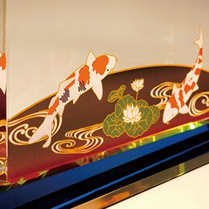 フルカラー絵柄入りクリスタル楯(盾)ダイヤカットアーチ型 鯉