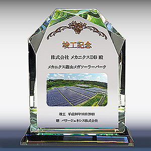 フルカラー写真入りクリスタル楯(盾)ダイヤカットアーチ型の竣工記念品