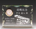 消防記念品の2Dクリスタル楯(消防車)