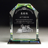 表彰状の2Dクリスタル楯(盾)ダイヤカットアーチ型