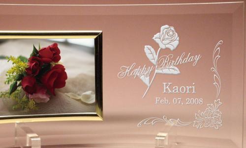 誕生日プレゼントのメッセージ入りフォトフレーム