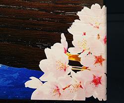 木製楯(盾)の記念品、木の楯(盾)和柄:富士山と桜