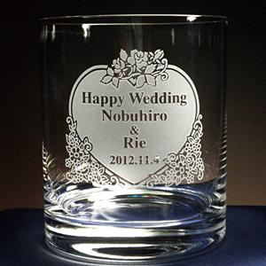 結婚祝いプレゼントのロックグラス